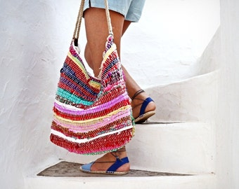 Hobo Kilim Shoulder Bag. Bright Colors. Large Boho Beach Bag. Boho Tote Rag Rug  Bag. Colorful Kourelou Bag.  Hippie Bag. Womens Gift