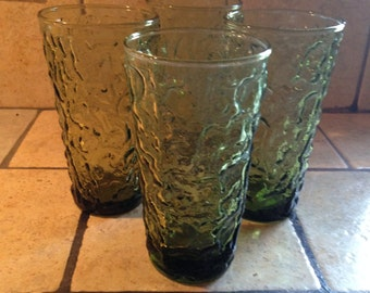 Set of 4 Olive Green Lido Tumblers by Anchor Hocking