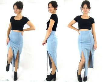 90s long slit denim midi skirt sexy small high waist