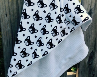 "Soft Knit Blanket with Minky on Back 30""x35"", Boston Terrier, French Bulldog"