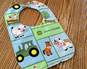 Reversible Baby Bib, John Deere Farm, Green with White Swirls On Reverse.Triple Layer, Snap Closure