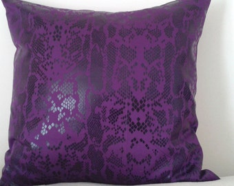 Purple/Black Python Stretch Denim Pillow Covers 16 x 16 - Set of 2