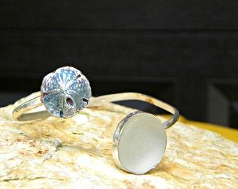 sand dollar white sea glass bypass bracelet