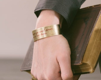 Charles Dickens Quote - Librarian Gift - Cuff Bracelet - Great Expectations - English Literature - Teacher Gifts - Jewelry Gifts For Her