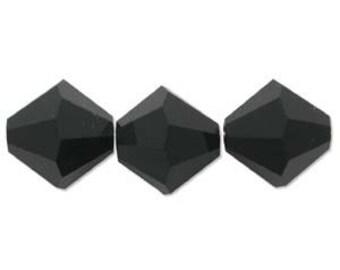 SWAROVSKI ~~ Faceted JET Crystal Bi-Cone  ~ 6 mm, 4mm, 3mm, 2.5mm ~ 532806JET/04JET/03JET/2.5JET