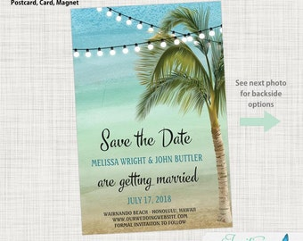 Save the Date Postcard - Photo Save the Date, Destination Save the Date, Beach Save the Date, Tropical, Palm Tree