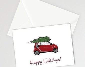 Printable Card, Instant Download. Bringing Home The Tree, Christmas Printable, Holiday Card