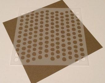 Square 5 inch stencil - Wonky polka dots