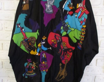 Vintage Silkscapes Oversized Bomber Jacket Colorful Applique World Travel Large