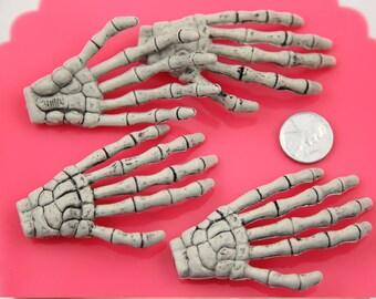 Skeleton Hand - 72mm Creepy Skeleton Hands Plastic Charms or Decorations - 4 pc set