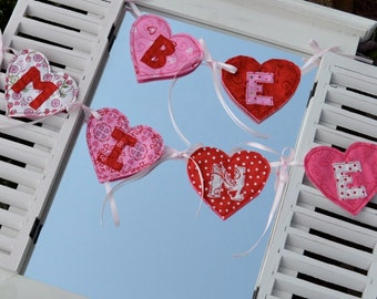 Happy Hearts Banner In the Hoop Embroidery Design