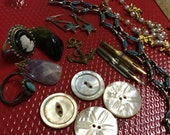 Vintage Mixed Lot of Steampunk Supplies--Destash Supply--Buttons--Pen Nibs--Turquoise Jewelry--Cameo Ring--Polished Stones--Ecletic Supplies
