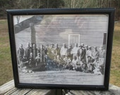 Vintage Hunter Photo--Old Black White Hunting Group Photo--Black Framed Old Photo--Trophy Birds Picture--Man Cave--Masculine Decor