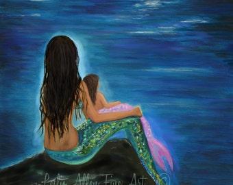 "Mermaid Art Mermaids ART PRINT Mermaid  Wall Art Mother Art Baby Art Nursery Art Nursery Decor ""Mermaids Little Girl""  Leslie Allen Fine Art"