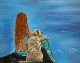 "Mermaid Art Mermaid Print Mermaids Labrador Art  Mermaid Wall Art ""Mermaids Loyal Friend""  Wall Art Mermaid Painting Yellow Lab Labrador"