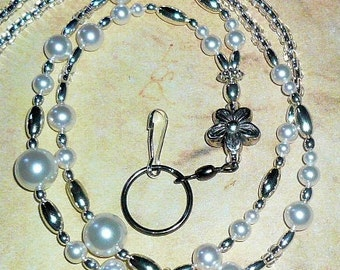 White Pearls Beaded Lanyard, Id Badge Holder, Id Necklace