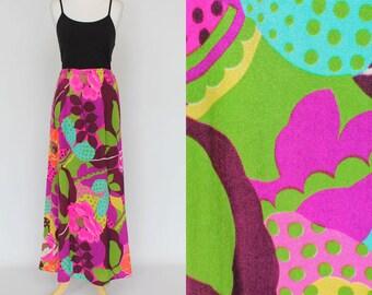 60's Flower Power Maxi Skirt / Neon Floral / Matching Belt / Small