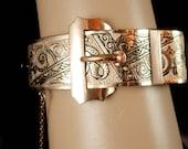 Antique Victorian Bangle Buckle bracelet Rose gold filled taille d' epergne sweetheart Ornate design hinged
