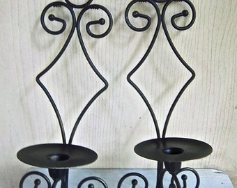 Vintage Spanish Mission Style Wall Sconces Indoor Outdoor Wallhangings Garden Decor Taper Pillar Candle Home and Living Wall Decor Sconces
