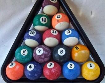 Vintage Set of American Pool Balls and Rack Game Room Supplies Home Decor Vintage Fillers