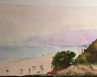 """11"""" x 20 """" Watercolor On Paper Pacific Coast painting"""