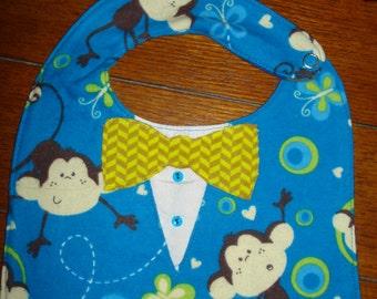 Little Man Bow Tie Bib - Monkeys - Reversible