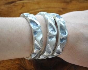Pewter Bracelet SET / 3 silver bangles / ethnic fetival / 1970s