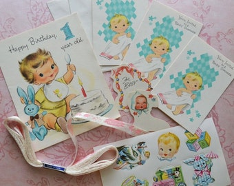 Vintage Baby Shower Gift Card Invitations Tags Seals & Ribbon