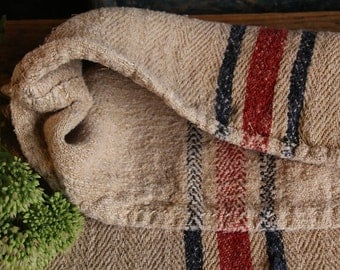 Nr. B557: Grain Sack antique CHERRY RED and BLUE style organic pillow benchcushion 36.22 inches wide wedding decoration