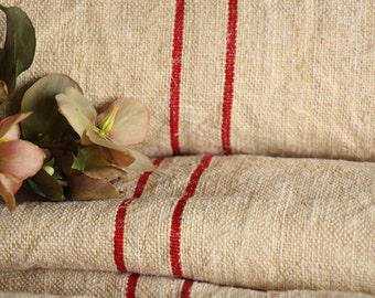 C 835 antique hemp linen roll 11.25 BRIGHT RED curtain fabric wedding decor linbedding 22.83wide