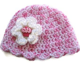 Ready To Ship Crocheted Pink and White Baby Girl Hat Cupcake Button - 0 to 3 Months - Pink Crochet Cupcake Hat