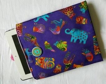 10% OFF SALE!  IPad, Tablet Holder, Case, Sleeve in Laurel Burch Fabric