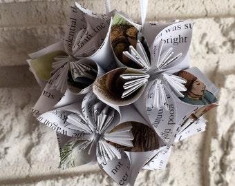 Little House on the Prairie Book Small Paper Flower Pomander Ornament