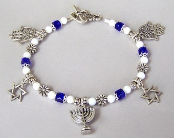 Judaica charm bracelet, Jewish charm bracelet, Bat Mitzvah gift, Menorah, Hamsas, Star of David, Hanukkah bracelet, gift for girl