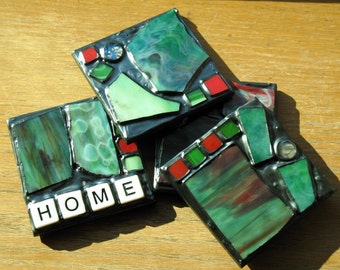 Home Recycled Stained Glass Coasters (Set of 4)