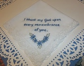 Christmas gift / Wedding memorial handkerchief, hand embroidered, Bible verse hankie, scripture hanky, friendship hanky, vintage hanky