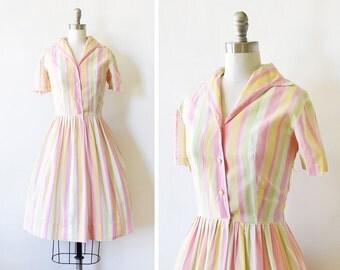 60s striped dress, vintage 1960s cotton shirt dress, rainbow sherbet dress, medium m