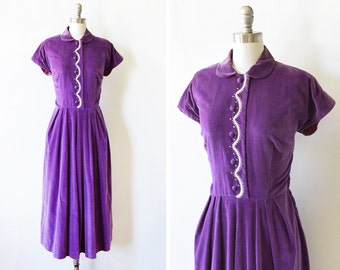 purple velvet dress, vintage late 40s early 50s dress, cocktail dress with rhinestones, medium