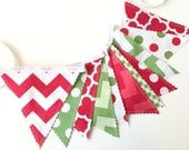 RESERVED - Christmas Garland, Fabric Banner, Christmas Home Decor, Holiday Home Decor, Holiday Banner