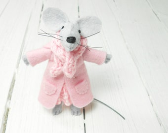 Kids jewelry felt brooch mouse felt pin pink gray grey baby shower birthday gift kids children daughter mom under 20 dollars