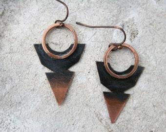 Arrowhead earrings, Artisan Metalsmith Jewelry, Small Copper Hoops, Blade Hoop Earrings