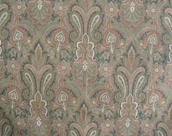 Paisley Decorator Remnant Yardage, Mill Creek Fabrics Road To Bombay, Green Brown Red Cream, 3 Large Cut Pieces = 1 Yard Plus
