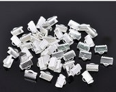 ON SALE 200 pcs Silver Plated Textured End Caps Crimp Beads 10mm (JF509D)