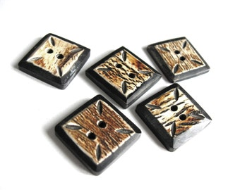 5 Square Bone Button Hand Carved Tribal Black Button 21mm