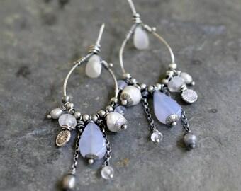 Sterling Moonstone Pearl Earrings, Sterling Silver Chandelier Earrings, Gemstone Dangly Earrings