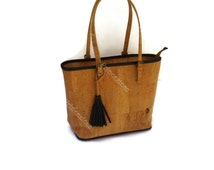 Handmade cork bag Yolanda style blue details