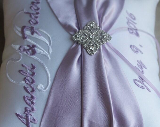 Wedding Ring Bearer Pillow, Personalized, Monogrammed, Custom Wedding Decor, Design Your Own, Diamond Deco Rhinestone, Lilac Wedding