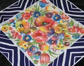"Vintage 1940's 13.5"" Colorful Pansy Floral Wedding Handkerchief or Doily, 9753"