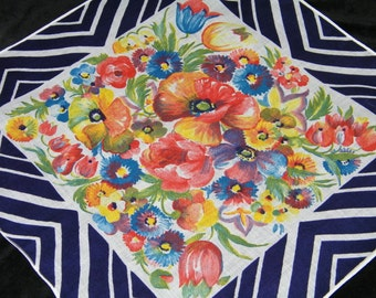 """Vintage 1940's 13.5"""" Colorful Pansy Floral Wedding Handkerchief or Doily, 9753"""