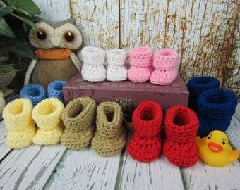 Baby Booties, Crochet Baby booties, Newborn booties,  0-3 mo, 3-6 mo, 6-9 mo, 9-12 mo, Pick your color, boy booties, girl booties